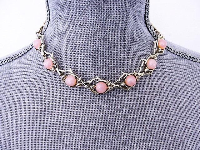 LOVELY 1950s Pink Moon Glow Thermoplastic and Gold Tone Metal Necklace Wear or Collect Vintage Costume Jewelry