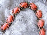 BEAUTIFUL 1950s Coral Luminous Thermoplastic and Gold Tone Metal Necklace Wear or Collect Vintage Costume Jewelry