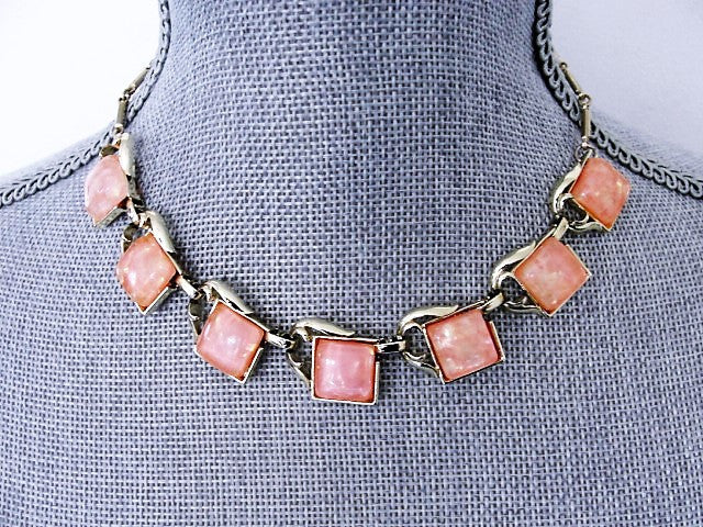 1950s Thermoset Sparkle Pink Thermoplastic and Gold Tone Metal Necklace Wear or Collect Vintage Costume Jewelry