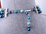 Vintage 50s AMAZING Multi Strand Bead and Cut Crystal Necklace Cool Blues Day or Evening Quality Costume Jewelry