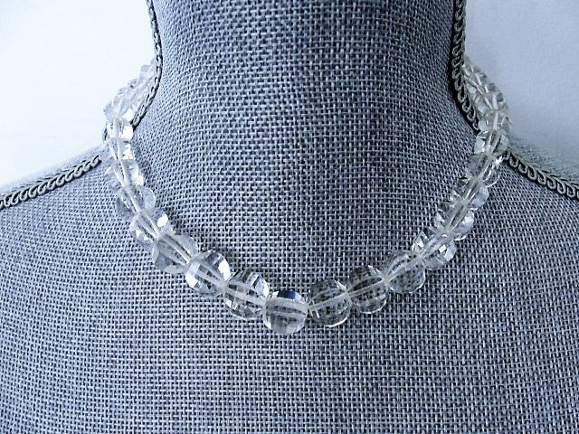 DAZZLING Antique Cut Crystal Necklace Amazing Heavily Cut Swarovski Brilliant Crystal Glass Sterling Silver Clasp Quality Vintage Jewelry