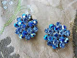 GLITTERING Vintage 50s Round Clip On Earrings BLUE Aurora Borealis Rhinestones Gorgeous Timeless Design Vintage Costume Jewelry