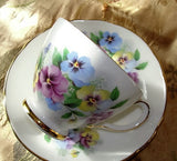 CHARMING Pansy Flowers Teacup and Saucer Delphine English Bone China Sweet Pansies Vintage Cup and Saucer Tea Time China