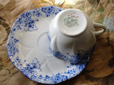 BEAUTIFUL Antique Art Deco Shelley TeaCup and Saucer DAINTY BLUE Fluted Cup and Saucer Fine English Bone China