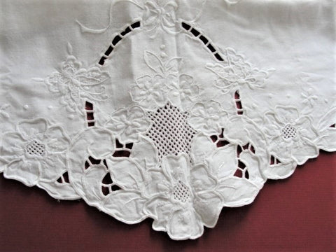 LOVELY Vintage Large Pillow Shams Pillowcases Flowers Butterflies Embroidery WhiteWork Pair of Pillow Cases Fine Linens