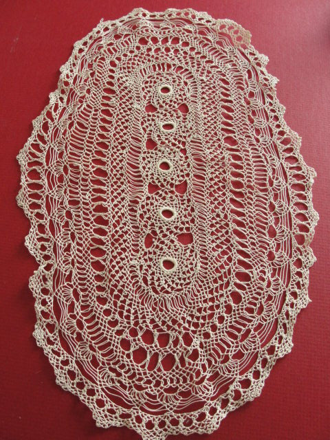 ANTIQUE Hand Knotted Lace Oval Doily Beautiful Example of fine Workmanship Frame It