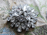 DAZZLING Vintage Signed Sherman Brooch Large Statement Pin Vintage Costume Rhinestone Jewelry