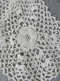 Antique Hand Crochet IRISH Lace Jabot Highly Detailed NeedleWork Lovely Addition To Lace Collection