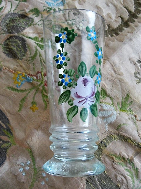 Beautiful Antique Hand Painted Glass Vase Lovely Hand Enamel Painted
