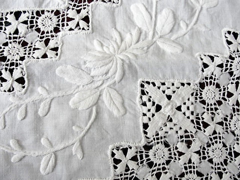 GORGEOUS Antique Victorian Fancy Small Tablecloth Table Topper Amazing Drawnthread Work, Raised WhiteWork Embroidery, French Country, Farmhouse Decor, Fine Antique Linens