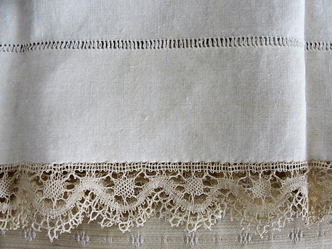 GORGEOUS Antique French Natural Linen Pillowcase With Bobbin Lace Trim Fine Vintage Linens