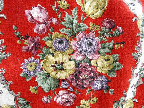 DECORATIVE Vintage Barkcloth Textile Lush Flowers Chic French Country, Romantic Cottage, Farmhouse Decor, Upholstery, Drapery,Vintage Textiles