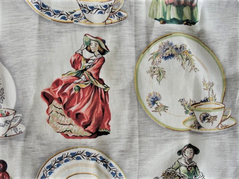 RARE Vintage 1930s DOULTON Figurines Teacups Dinnerware FABRIC Curtain Riverdale Fabrics Entitled A Royal Doulton Print Figurines Vintage Barkcloth Cottage Farmhouse Decor