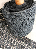 ANTIQUE French Black Lace Trim Yardage 6.5 inches Wide Beautiful Original Lace Never Used Great For Victorian Costumes Civil War Dress Heirloom Sewing Collectible Lace