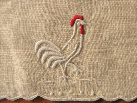 VINTAGE Madeira Linen Cocktail Napkin Embroidered Rooster Vintage Barware Collectible Linens
