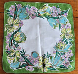 1950s BEAUTIFUL Vintage Printed Hanky Hankie Handkerchief Lush Flowers Frame It Give As Gift Collectible Printed Hankies