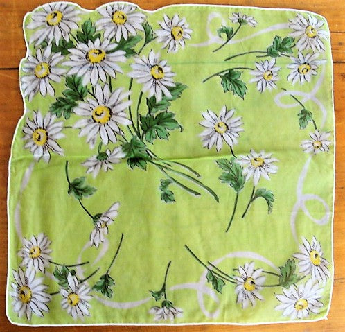 CHEERFUL Daisies Sheer 50s Hanky, Hankie, Handkerchief, Perfect To Frame or Give As Gift Collectible Printed Hankies