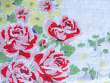 LOVELY Vintage Floral Printed Hanky Handkerchief Pink Roses Collectible Hankies