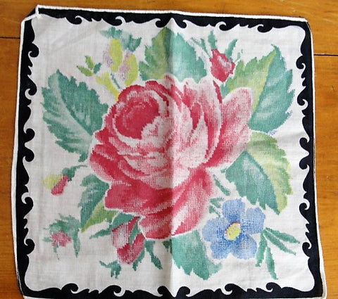VINTAGE 50s Colorful Roses Hanky Handkerchief Perfect To Frame or Give As Gift Collectible Printed Hankies