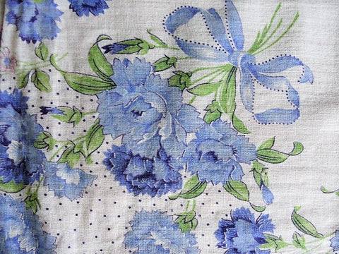 LOVELY Vintage Floral Printed Hanky Handkerchief Baby Blue Flowers Perfect To Frame or Give As Gift Collectible Printed Hankies