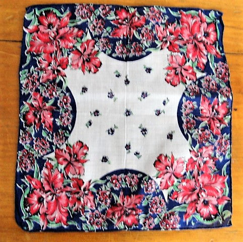 1950s COLORFUL Vintage Printed Hanky Handkerchief Perfect To Frame or Give As Gift Collectible Printed Hankies