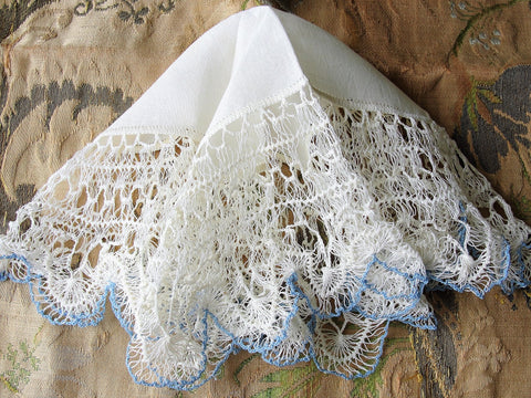 GORGEOUS Antique Hanky, Linen and Hairpin Lace Edge Fancy Bridal Handkerchief, White and Blue Lace Hankie, Collectible Lace Hankies