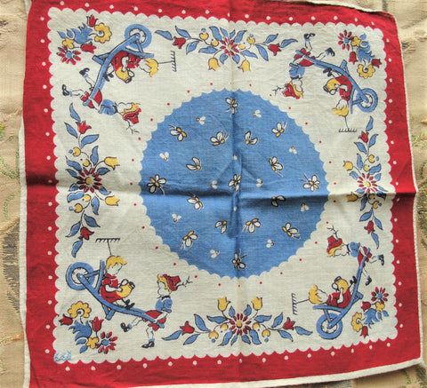 ADORABLE Vintage Hanky, Childrens Handkerchief, Children Gardening Theme, Boy Hanky,Girl Hankie,Printed Colorful Hankies, Great To Frame
