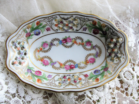 BEAUTIFUL Small Schumann Dresden Pierced Trinket China Dish, Colorful Flowers, Decorative Porcelain, US Zone Germany, Collectible Dresden