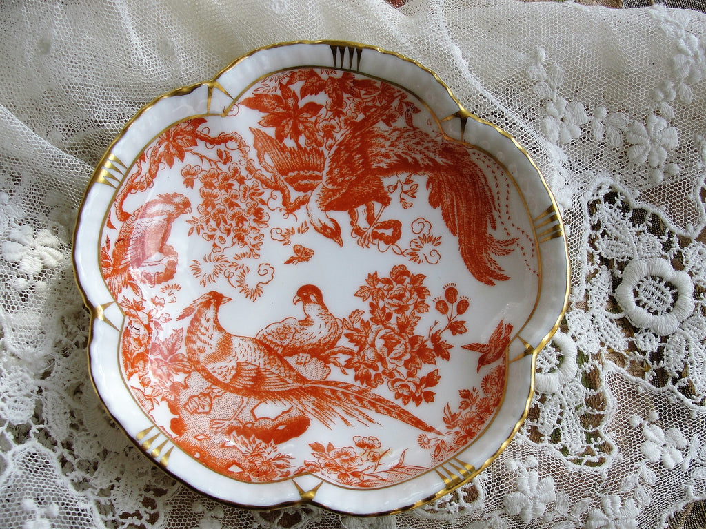 LOVELY Vintage Red Aves by Royal Crown Derby Bone China England, English China, Trinket Dish, Pin Dish, Scalloped Edge,Decorative, French Country Decor