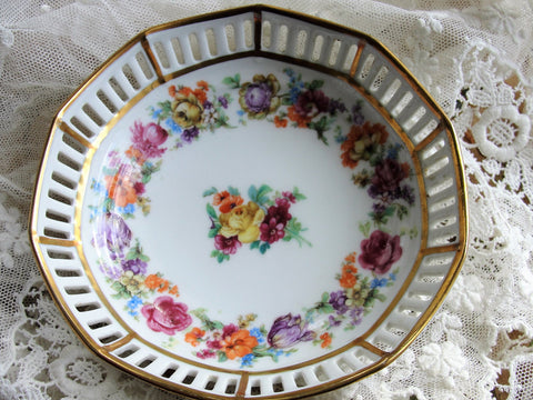 Beautiful Antique SCHUMANN Bavaria Dresden Bowl,Dresden Small Dish, Openwork Reticulated Sides, Colorful Flowers, French Cottage, Chateau Decor