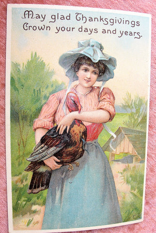 BEAUTIFUL Antique Thanksgiving Day Embossed Postcard,Lovely Lady Holding Turkey,International Art Co, Rich Graphics, Decorative Postcards, Farmhouse Decor