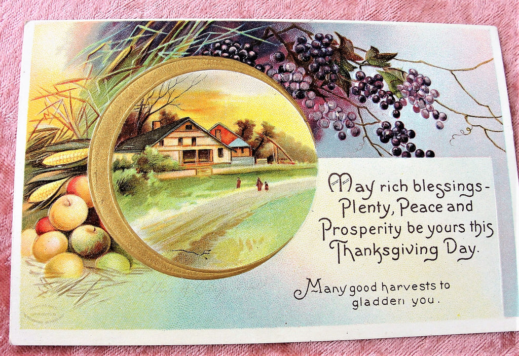 BEAUTIFUL Antique Thanksgiving Day Embossed Postcard,International Art Co, Rich Graphics, Decorative Postcards, Farmhouse Decor