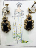 GORGEOUS Antique Czech Glass and Filigree Metal Drop EARRINGS Beautiful Design Flapper Era Collectible Costume Jewelry