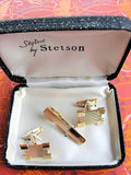 1950s Mid Century STETSON Mens Tie Bar Tie Clip and Cuff Links Boxed Set Hand Engine Turned Mad Men Style Original Black Gold Box Vintage Gentlemen Accessories