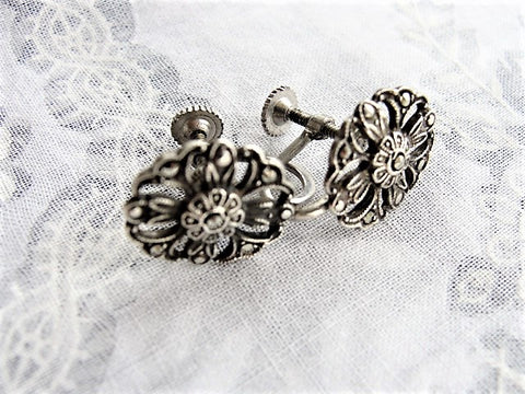 Vintage1920s ART DECO Marcasite Sterling Silver Screw Back Floral Earrings Lovely Design Downton Abbey Style Collectible Antique Fine Jewelry
