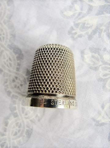 BEAUTIFUL Antique Thimble English Sterling Silver Heavily Engraved Honey Comb Pattern Collectible Sewing Needlework Tools
