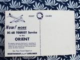 VINTAGE Postcard 1950s Interior of NORTHWEST ORIENT Airlines DC-6B Airplane Colorful Postcard Never Used Collectible Vintage Postcards
