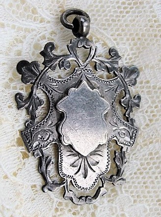 ELEGANT Antique English Sterling Silver Ornate Fob Pendant Silversmith WHH William Hair Haseler Liberty Cymric Archibald Knox Collectible Antique Silver Antique Jewelry