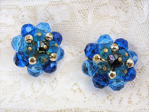 1950s SPARKLING Large Cluster Clip On Vintage Earrings Eye Catching Blue Colors Crystals Western Germany Made Collectible Vintage Costume Jewelry