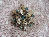 LOVELY Vintage Snowflake Shape Brooch Pin Gold Metal and Aquamarine Color Rhinestones Three Layer Broach Collectible Vintage Costume Jewelery
