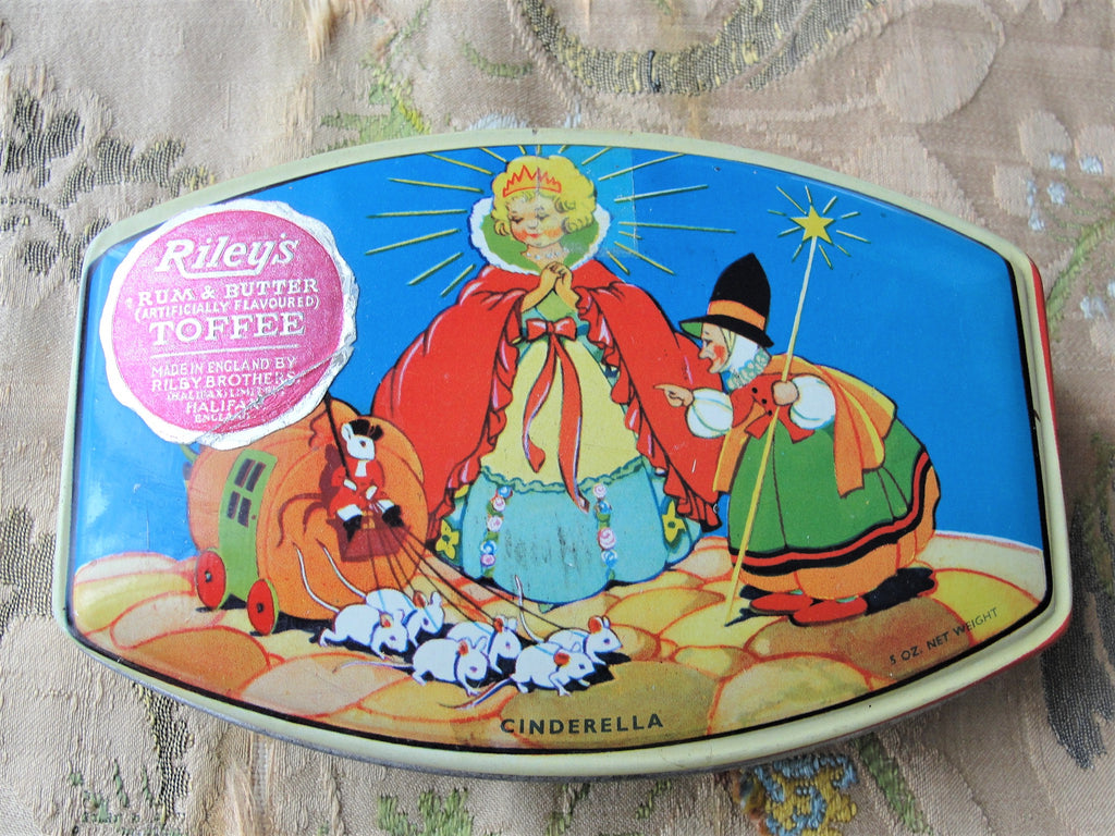 Vintage Cinderella Tin Litho Box, Nursery Rhyme, Fairy Tale, Riley's Toffee Tin,Retro Advertising,Nursery Décor, Vanity, Trinket, Storage Box, British Candy,English Tin Box,Cute Child Tin,Adorable Litho Tin,Collectible Tins,Colorful Graphics,Tin Boxes
