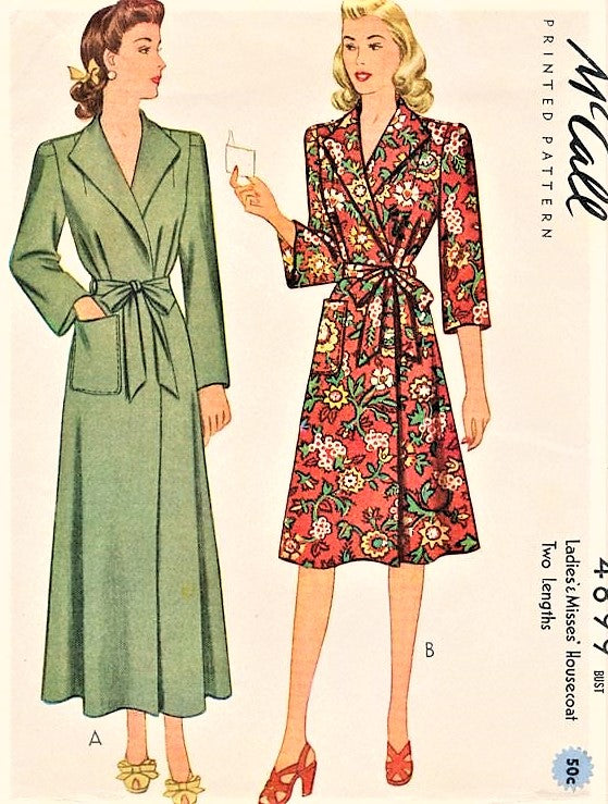 40s CLASSIC WW II Era Side Wrap Housecoat Robe Brunch Coat McCALL 4899 Lovely Wide Lapels,Easy To Make Bust 30 Vintage Sewing Pattern