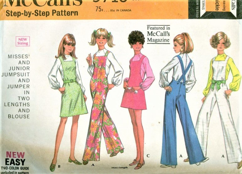 1960s MOD McCalls 9710 Pattern CUTE Jumpsuit Cover Alls Jumper Dress Pattern Bust 30 Vintage Sewing Pattern UNCUT