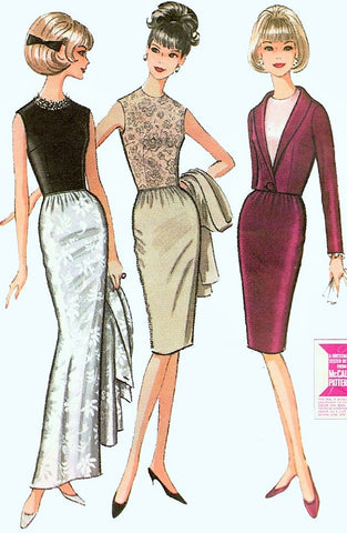 60s CLASSY Slim Evening Gown or Cocktail Dress and Jacket Pattern Jewel Neckline Short Fitted Jacket McCall's 7508 Vintage Sewing Pattern Bust 31 FACTORY FOLDED