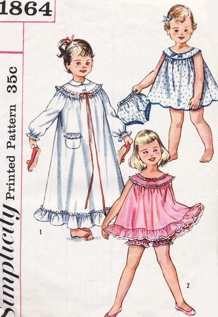 SWEET 1950s Girls Nightgown, Baby Doll Shortie PJs with Panties Sleepwear Pattern Simplicity 1864 Size 5 Vintage Sewing Pattern
