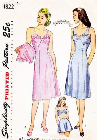 1940s Pin Up Style Lingerie Slips Panties Pattern SIMPLICITY 1822 Two Slip Designs and Tap Panty Bust 42 Vintage Sewing Pattern