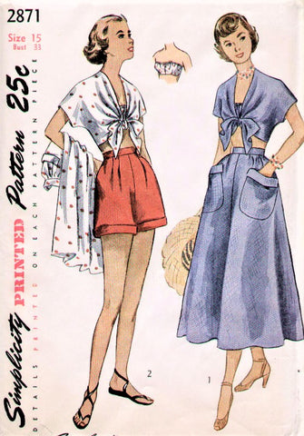 40s Beachwear Pattern SIMPLICITY 2871 Pin Up Style Bandeau Bra, Tie Front Blouse, High Waist Shorts and Full Skirt Bust 33 Vintage Sewing Pattern