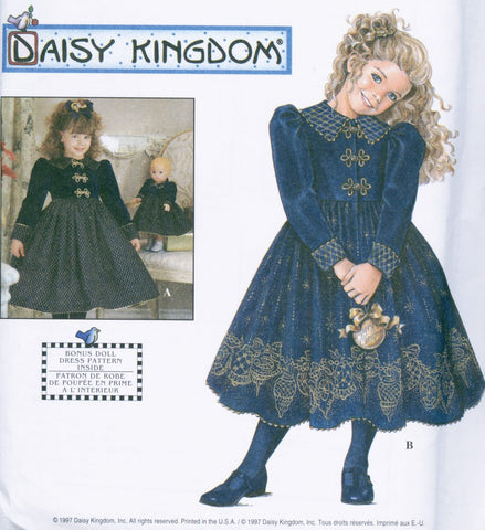 Vintage Simplicity 7788 Daisy Kingdom Toddler Little Girls and Doll Dress Pattern So SWEET UNCUT