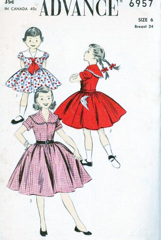 1950s CUTE Little Girls Dress Pattern ADVANCE 6957 Large Collar Regular or Puff Sleeves Full Skirt Size 6 Vintage Sewing Pattern