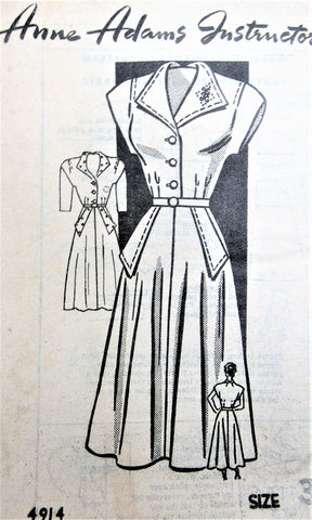 40s SNAPPY Dress Pattern ANNE ADAMS 4914 Figure Flattering Flared Dress Bust 34 Vintage Sewing Pattern